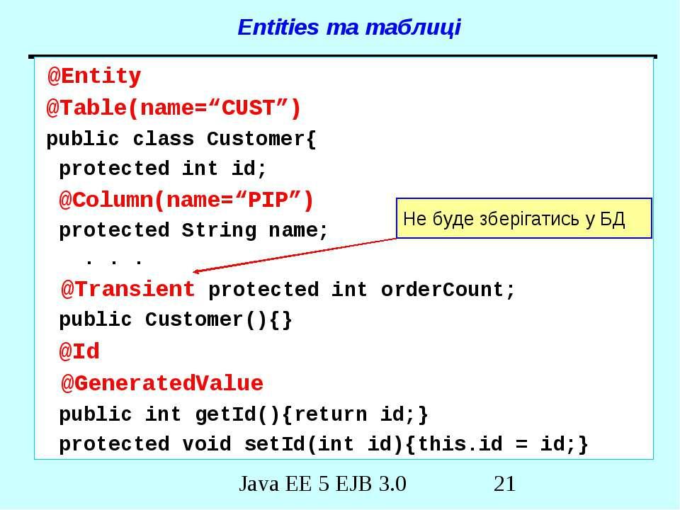 "Entities та таблиці @Entity @Table(name=""CUST"") public class Customer{ protec..."