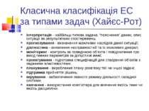 Класична класифікація ЕС за типами задач (Хайєс-Рот) інтерпретація - найбільш...