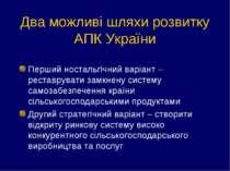 Два можливі шляхи розвитку АПК України Перший ностальгічний варіант – реставр...
