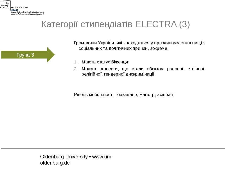 Категорії стипендіатів ELECTRA (3)