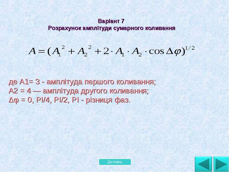 де А1= 3 - амплітуда першого коливання; А2 = 4 — амплітуда другого коливання;...