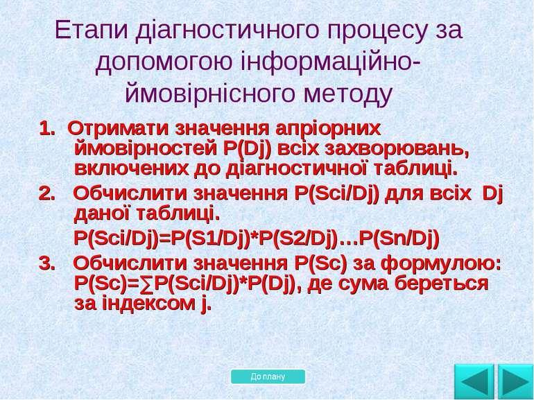 1. Отримати значення апріорних ймовірностей P(Dj) всіх захворювань, включених...