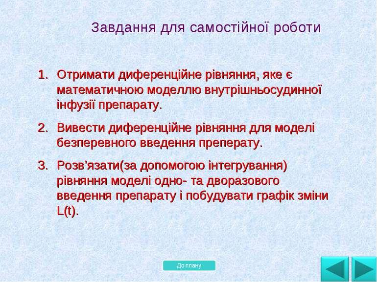 Завдання для самостійної роботи Отримати диференційне рівняння, яке є математ...