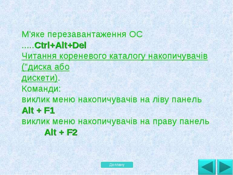 М'яке перезавантаження ОС .....Ctrl+Alt+Del Читання кореневого каталогу накоп...