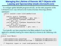 Managing the Lifetime of Remote .NET Objects with Leasing and Sponsorship (ms...