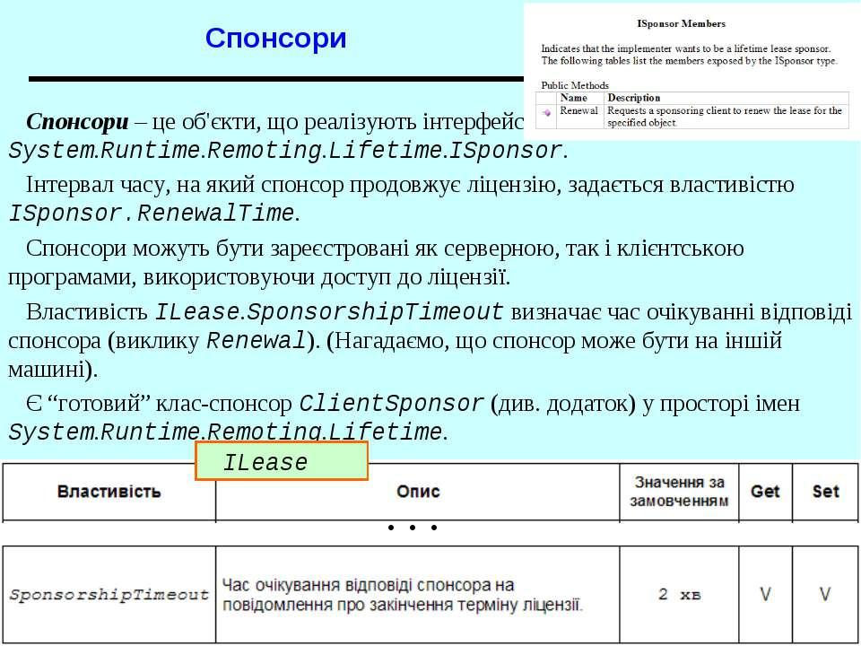 Спонсори . . . Спонсори – це об'єкти, що реалізують інтерфейс System.Runtime....