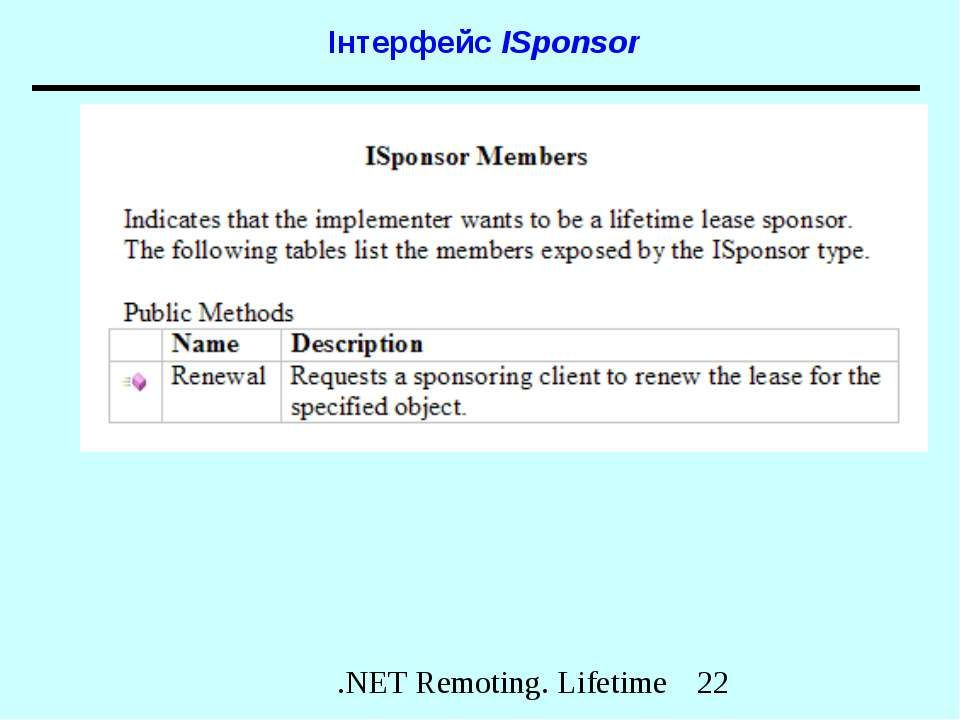 Інтерфейс ISponsor .NET Remoting. Lifetime