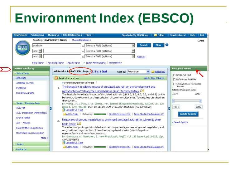 Environment Index (EBSCO) Acid rain