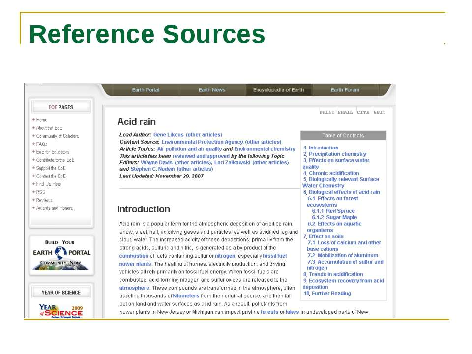Reference Sources Acid rain