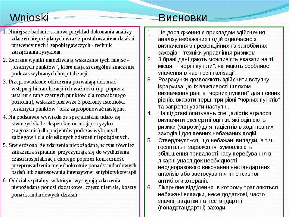 Wnioski Висновки 1. Niniejsze badanie stanowi przykład dokonania analizy zdar...
