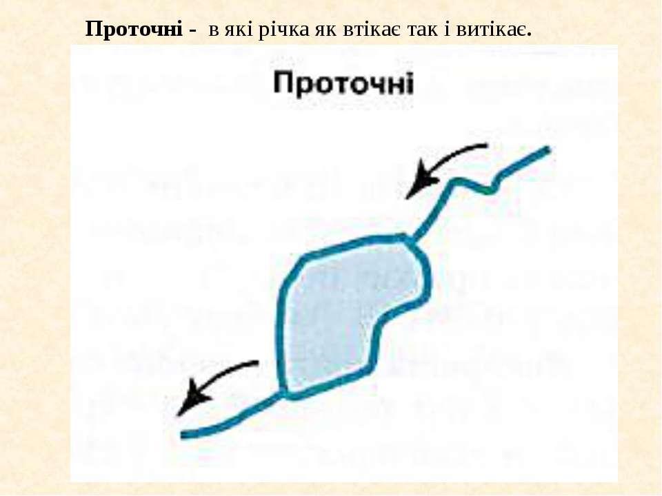 Проточні - в які річка як втікає так і витікає.