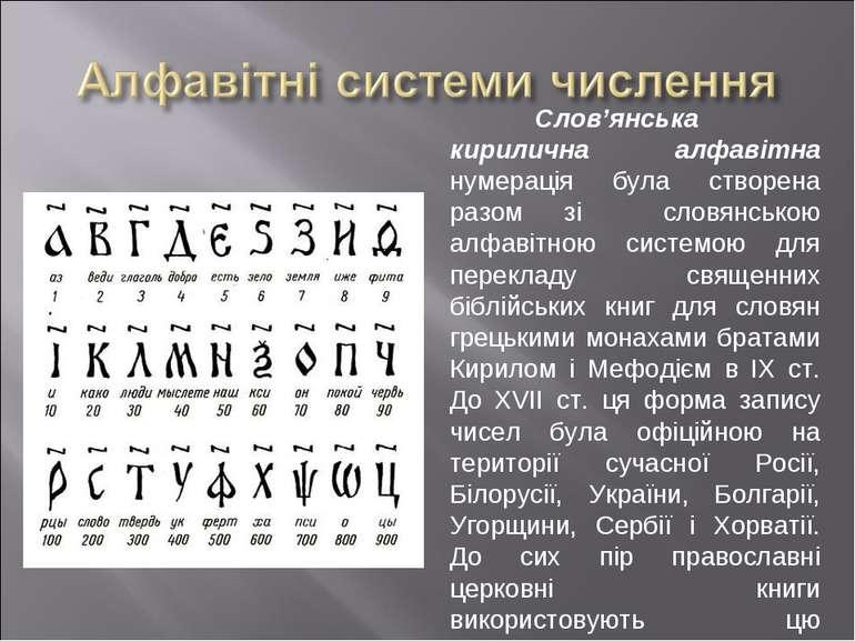 Слов'янська кирилична алфавітна нумерація була створена разом зі словянською ...