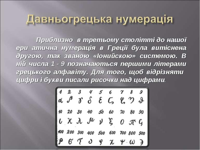 Приблизно в третьому столітті до нашої ери атична нумерація в Греції була вит...