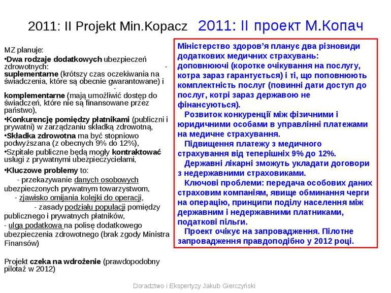 2011: II Projekt Min.Kopacz 2011: II проект M.Копач MZ planuje: Dwa rodzaje d...