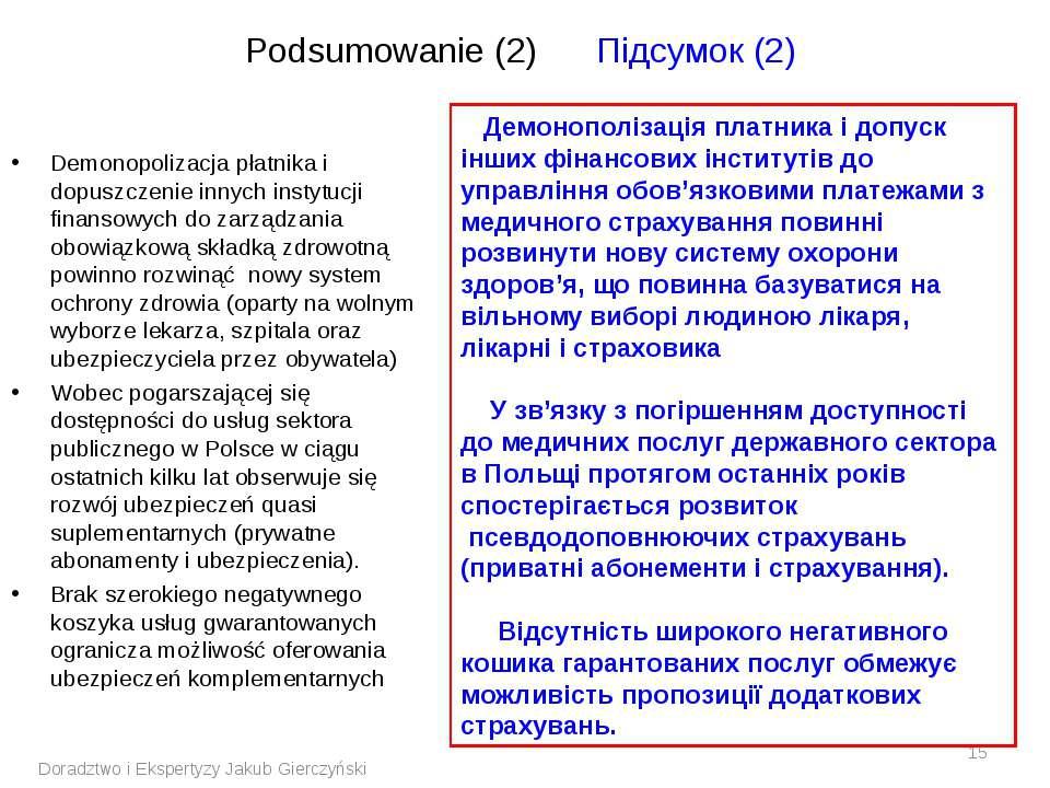 Podsumowanie (2) Підсумок (2) Demonopolizacja płatnika i dopuszczenie innych ...