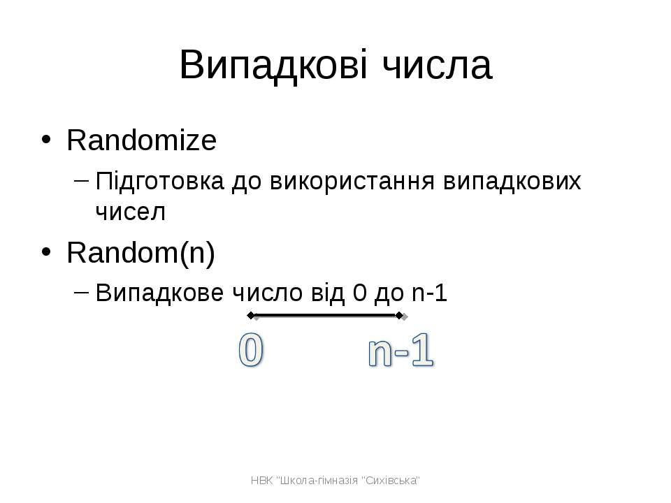 Випадкові числа Randomize Підготовка до використання випадкових чисел Random(...