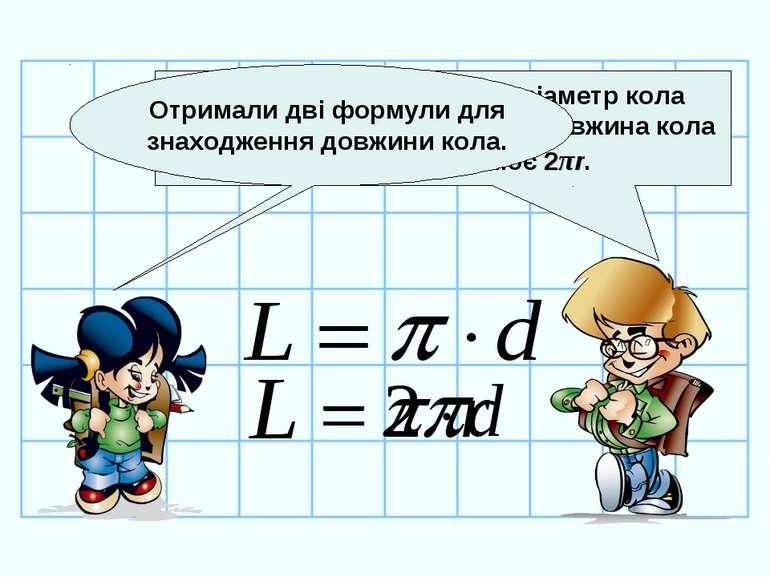 Так, Тосю. Але, оскільки діаметр кола дорівнює двом радіусам, то довжина кола...