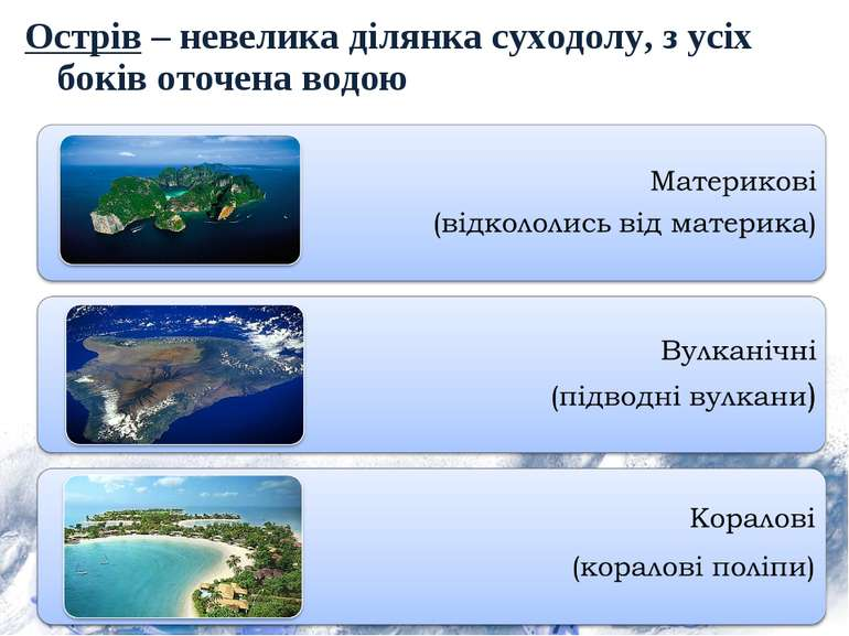 Острів – невелика ділянка суходолу, з усіх боків оточена водою