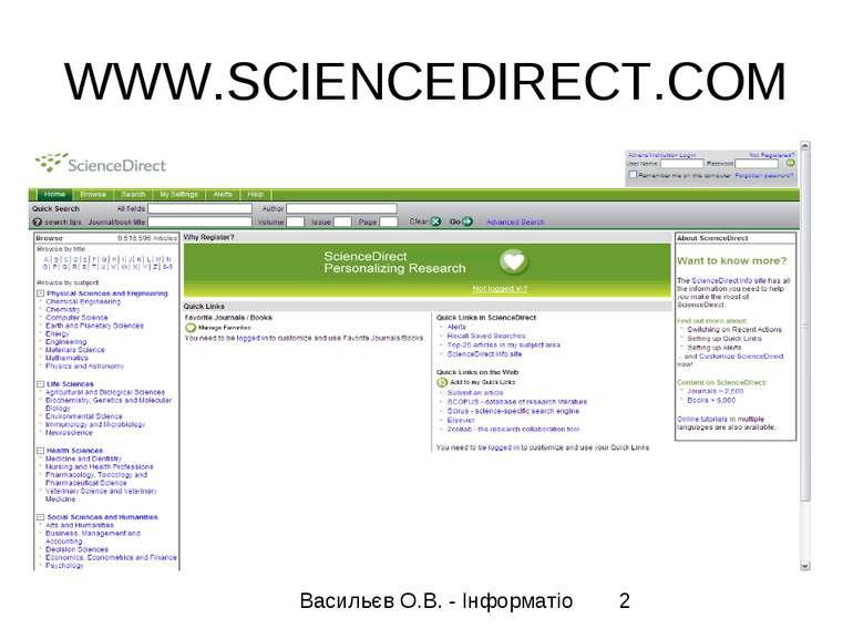 WWW.SCIENCEDIRECT.COM Васильєв О.В. - Інформатіо