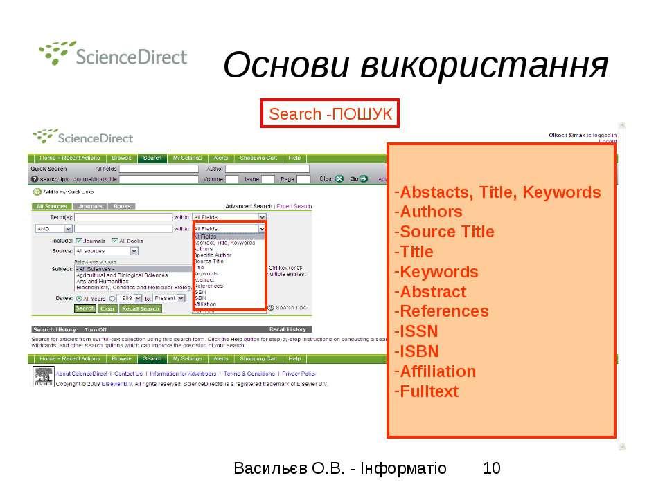 Основи використання Search -ПОШУК Abstacts, Title, Keywords Authors Source Ti...