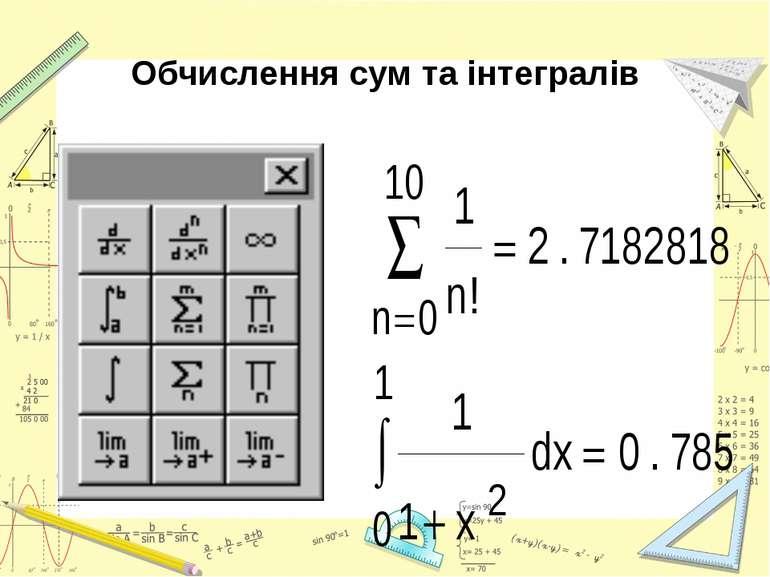 Обчислення сум та інтегралів