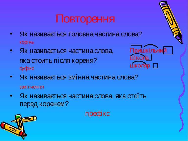 Повторення Як називається головна частина слова? корінь Як називається частин...