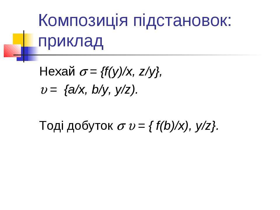 Композиція підстановок: приклад Нехай = {f(y)/x, z/y}, = {a/x, b/y, y/z). Тод...