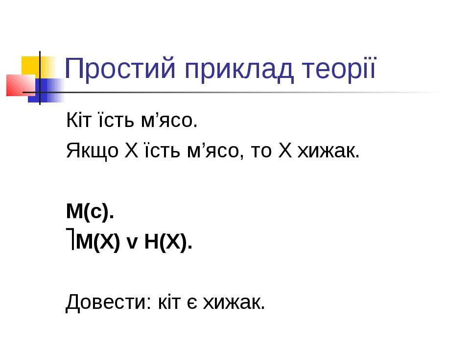 Простий приклад теорії Кіт їсть м'ясо. Якщо X їсть м'ясо, то X хижак. M(c). M...
