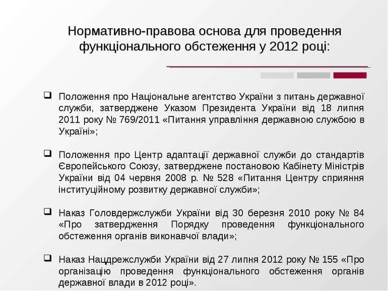 Нормативно-правова основа для проведення функціонального обстеження у 2012 році:
