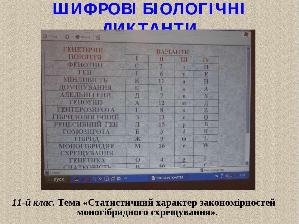 ШИФРОВІ БІОЛОГІЧНІ ДИКТАНТИ 11-й клас. Тема «Статистичний характер закономірн...