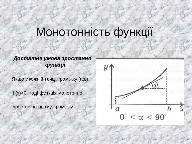 Монотонність функції Достатня умова зростання функції. Якщо у кожній точці пр...