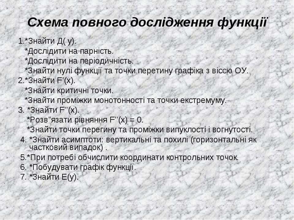 Схема повного дослідження функції 1.*Знайти Д( у). *Дослідити на парність. *Д...