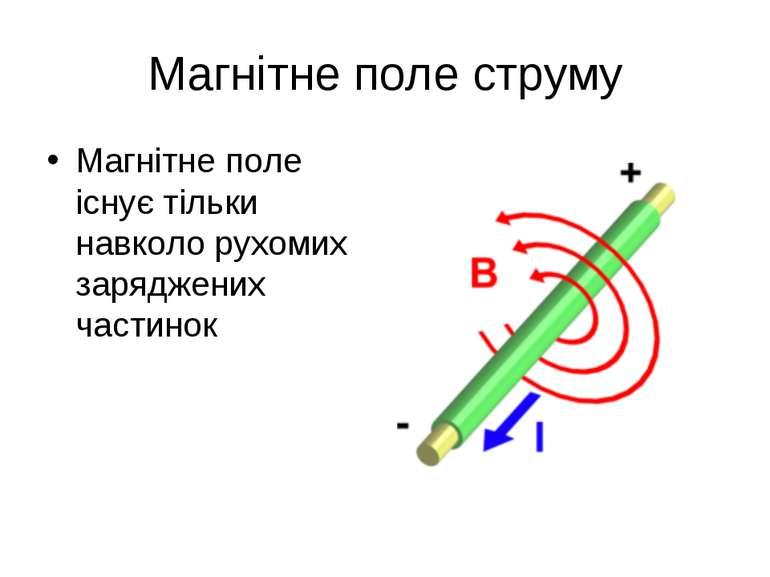 Магнітне поле струму Магнітне поле існує тільки навколо рухомих заряджених ча...