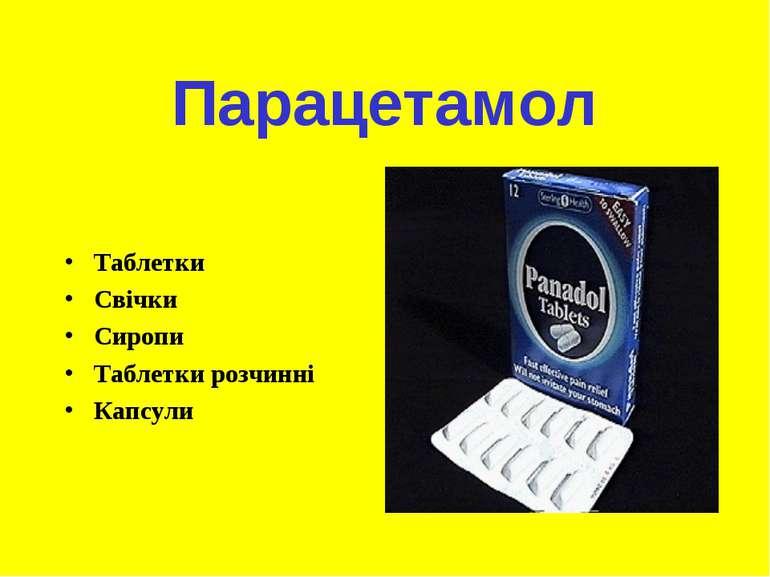 Парацетамол Таблетки Свічки Сиропи Таблетки розчинні Капсули