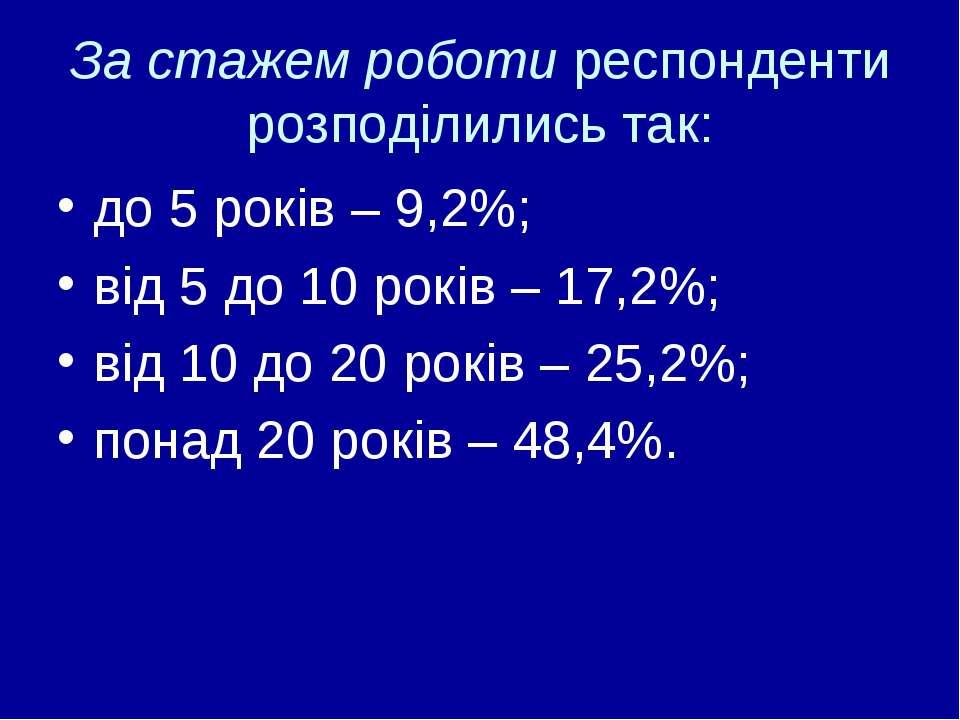За стажем роботи респонденти розподілились так: до 5 років – 9,2%; від 5 до 1...