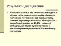 Результати дослідження Смертність жінок від нещасних випадків у кілька разів ...