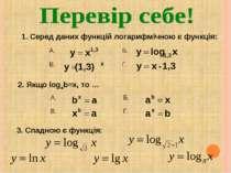 1. Серед даних функцій логарифмічною є функція: 2. Якщо logab=x, то … 3. Спад...