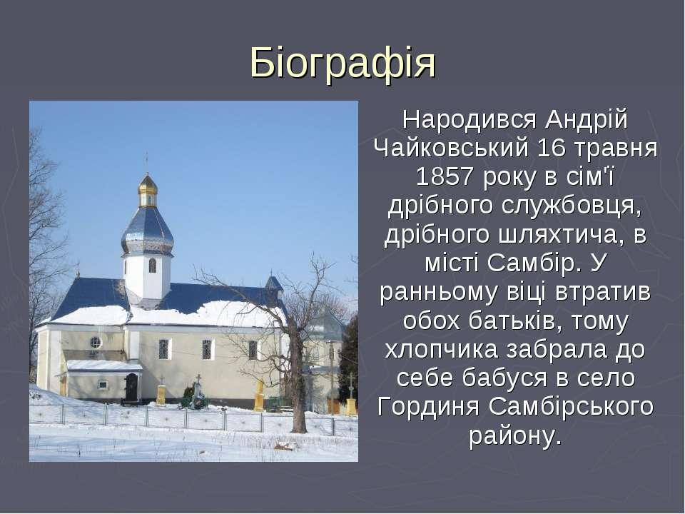 Біографія Народився Андрій Чайковський 16 травня 1857 року в сім'ї дрібного с...
