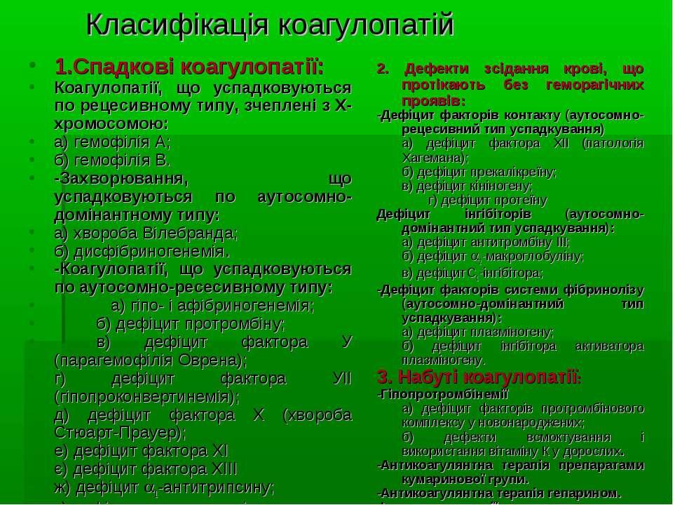 Класифікація коагулопатій 1.Спадкові коагулопатії: Коагулопатії, що успадкову...