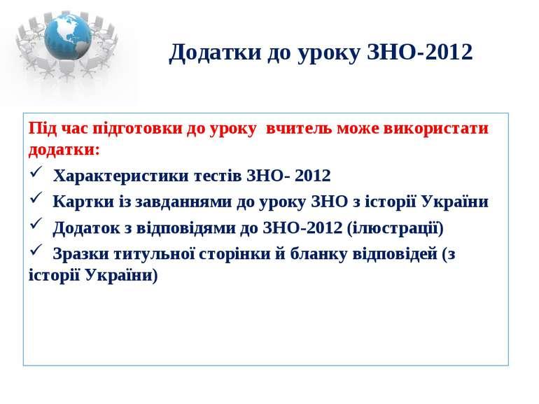Додатки до уроку ЗНО-2012 Під час підготовки до уроку вчитель може використат...
