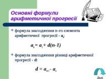 Основні формули арифметичної прогресії формула знаходження n–го елемента ариф...