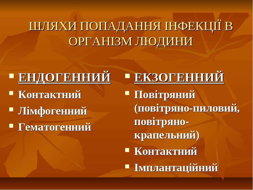 ШЛЯХИ ПОПАДАННЯ ІНФЕКЦІЇ В ОРГАНІЗМ ЛЮДИНИ ЕНДОГЕННИЙ Контактний Лімфогенний ...
