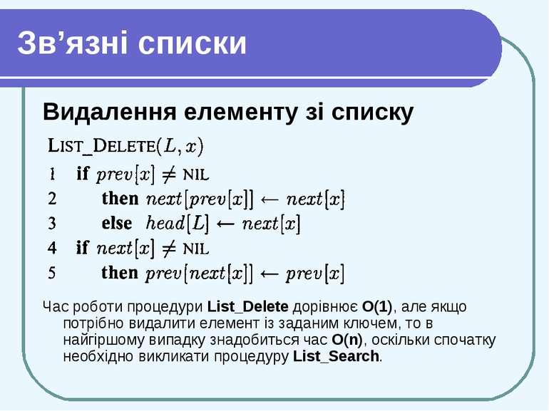 Зв'язні списки Видалення елементу зі списку Час роботи процедури List_Delete ...
