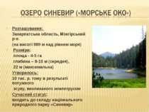 Розташування: Закарпатська область, Міжгірський р-н (на висоті 989 м над рівн...