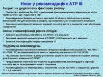 Нове у рекомендаціях АТР ІІІ Акцент на додаткових факторах ризику Пацієнтів з...