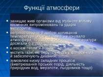 Функції атмосфери захищає живі організми від згубного впливу космічних випром...