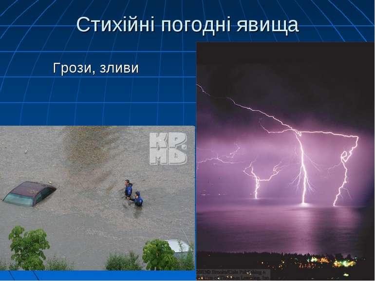 Стихійні погодні явища Грози, зливи