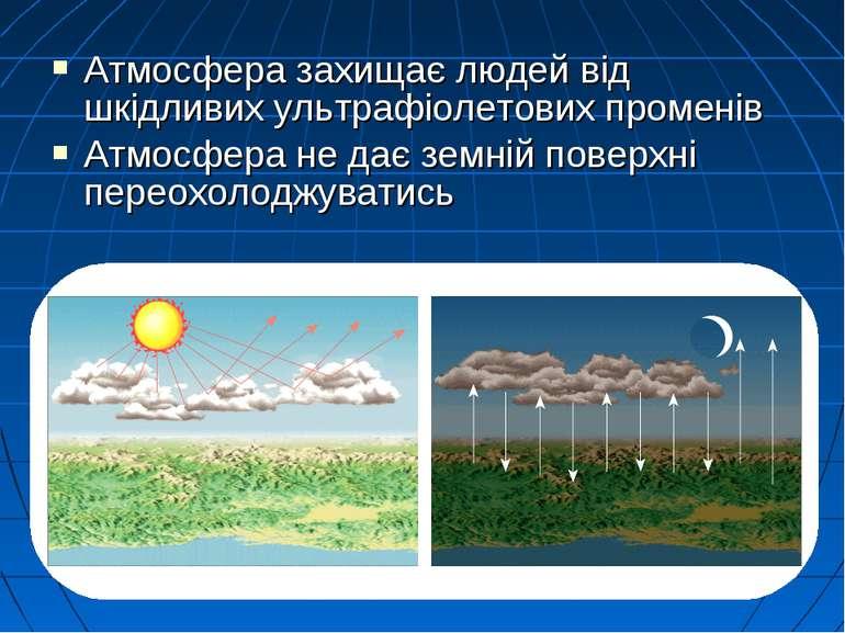 Атмосфера захищає людей від шкідливих ультрафіолетових променів Атмосфера не ...
