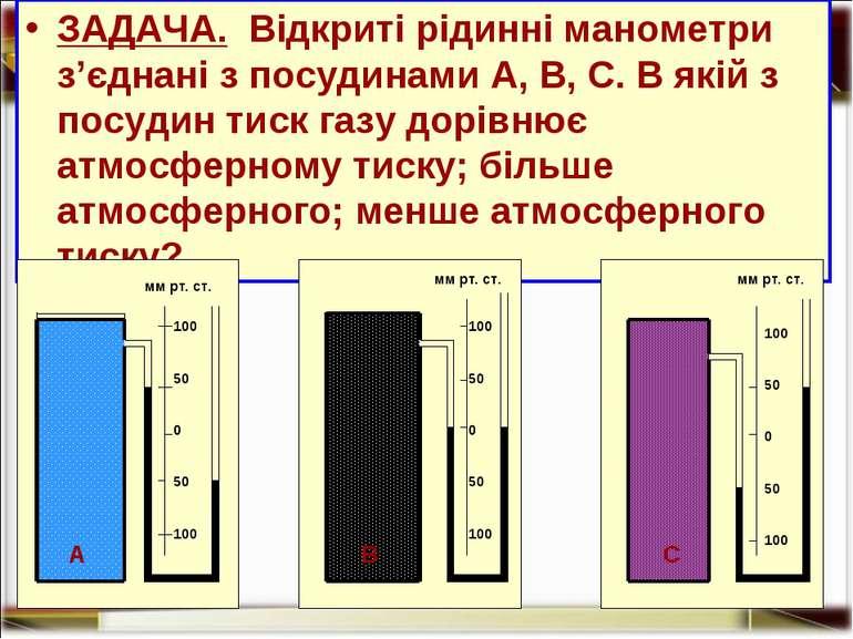 ЗАДАЧА. Відкриті рідинні манометри з'єднані з посудинами А, В, С. В якій з по...