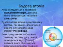 Будова атомів Атом складається з позитивно зарядженого ядра, довкола якого об...